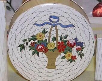 40s HOUBIGANT Face Powder Box UNUSED 1940s French Vintage Cosmetics Beauty Girly Boudoir Shabby Roses Floral Vanity Decor Flower Basket Gift