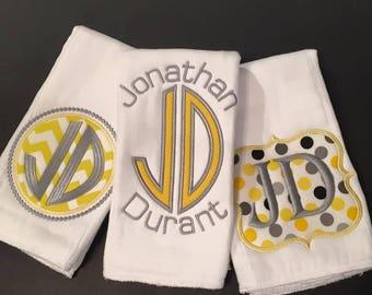Baby Monogram Burp Cloths - set of 3 Yellow and Grey