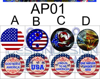 American Pride Charms/Buttons Size #24 8mm or #20 4.76 mm . Flags,Interchangeable Jewelry,Necklace, Veterans AP01