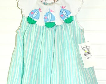 Vintage baby dress blue gingham with sailboat detailing, Samara sz 4T New with tag
