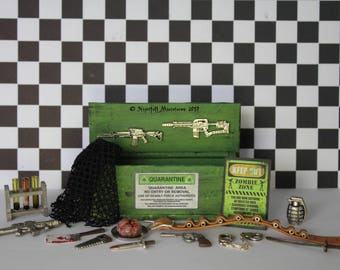 Dollhouse Miniature Walking Dead  inspired zombie survival kit with zombie brain in 1:12 scale
