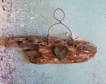 California driftwood heart art