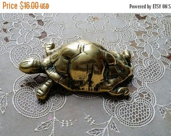 WILL SHIP AUG 23 Small Brass Tortoise Figurine Turtle Paperweight
