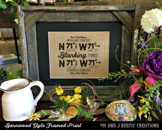Framed Burlap House Warming Gift | Personalized Family | 2 Locations  GPS Coordinates | Barn Wood Frame | 11x14 | 8x10  | Burlap Print | 250