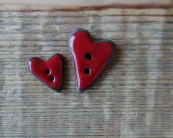 Red Ceramic button handmade. Heart button handmade
