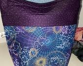 Medium or Large Project WIP Tote Bag, Celestial World, Global Stars, Heavenly Skies Inspired, Zipper or Drawstring