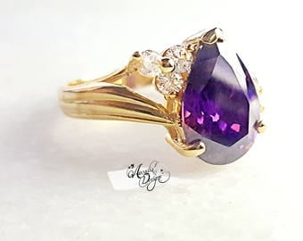 Amethyst Gemstone and Quartz Golden Ring. Tear Drop Prong Purple Stone Jewelry Violet Pear Shape Gem Ring, Mother of the Bride Ring Gift