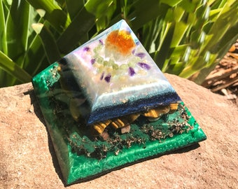 Violet Flame Orgone Pyramid ~ Citrine and Diopside Crystal Pyramid ~ Manifestation and Creative Focus Crystals