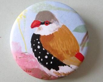 Small bird badge tropical blue birdy