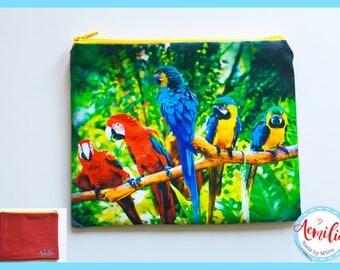 Etui, vrolijk, zomer, papegaai, rood, blauw, vogel, stok, bos, vogels