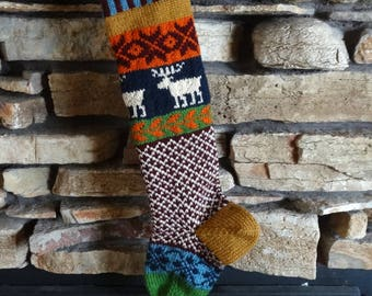Christmas Stockings, Personalized Knit Christmas Stockings, Christmas Stocking, Knit Christmas Stockings, Navy Moose, Burgundy Snowflakes