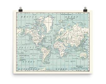 Blue and Cream World Map Matte Print - travel decor, dorm room, office, den