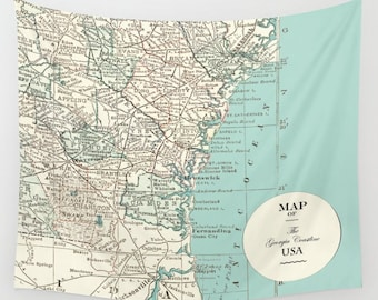 Map of Georgia Coastline Wall Tapestry  - vintage map, dorm room decor,  Blue and cream beautiful map, travel decor, wall, den, bedroom