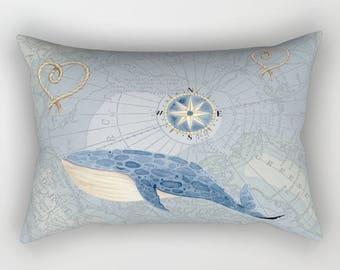 Whale on Map Pillow Case - Arctic circle map - soft blue tones unique travel, wander, classic, vintage design