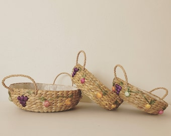 Vintage Wicker Fruit Basket Set