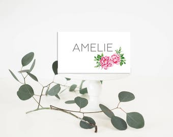 Printable Wedding Place-Card - Wedding Place-Card - Peonies wedding Place-Card - Floral Place-Card - Peonies Wedding Place Card - Romantic