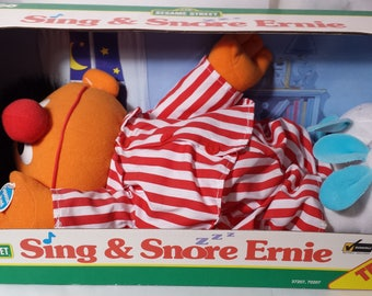 1996 Sing & Snore Ernie | Sesame Street Collectible plush toy | unopened box