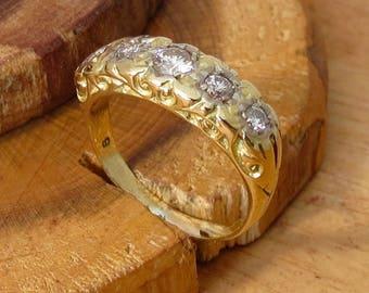 18K yellow gold 0.6 Carat diamond ring.