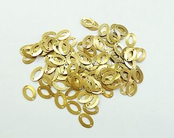 10x14mm brass sequin, oval shape, 2 hole, thin metal disc, 100 pcs