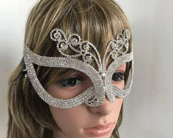 Masks, Rhinestone Mask, Mardi Gras Mask, Crystal Mask, Fantasy Mask, Halloween Mask, Costume, Masquerade Mask, Cosplay Mask