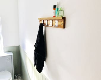 Rustic Wooden Towel Rail with 4 Metal Hooks Industrial Style
