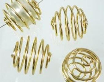 Appets spiral gold metal, 15 mm bead