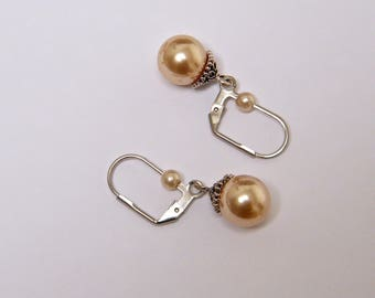 Romantic, sleepers, mother of Pearl, brass earrings silver idea women gift