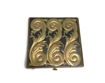 Vintage Powder Compact, Rex Fifth Avenue Compact, Gold Tone Scroll Compact Mirror
