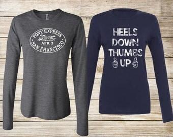 SALE! Equestrian T-Shirt Bundle: Heels Down Thumbs Up Long Sleeve Tee & Pony Express Vintage Stamp Long Sleeve Tee - Size Medium