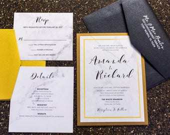 5x7 Formal Back Pocket Marble Wedding Invitation in Black and Gold. Includes 2 Inserts and Return Address Printing