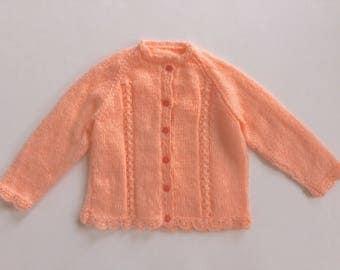 Hand knitted children's cardigan sweater, peach sweater, child cardigan, hand knit, kids cardigan, girls cardigan, kids knit sweater