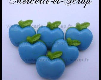 Set of 6 blue green 20mm Plastic fruit Apple wood buttons