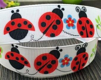 Ladybug flower 22mm grosgrain Ribbon sold pet animal meter