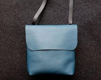 Blue leather bag /Shoulder bag / crossbody bag