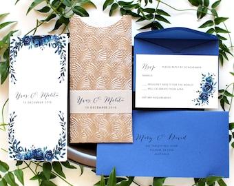 Royal Blue and Gold Wedding Invitations, Royal Blue Wedding Invitations, Blue Wedding Invitations, Pocket Wedding Invitations