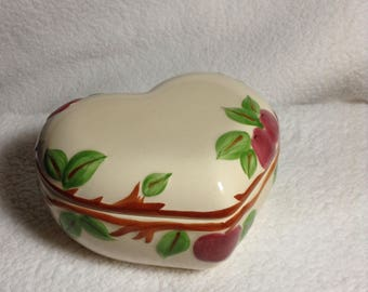 SALE -  Franciscan Apple  Design Heart Dish With Lid