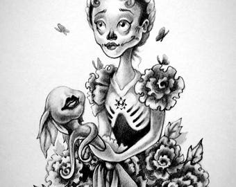 Dahlia~ Day of the Dead portrait print by Angel Hawari