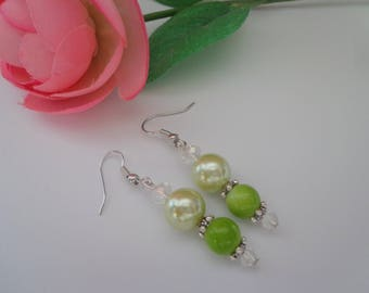 Lime Green Earrings,Green Pearl Earrings