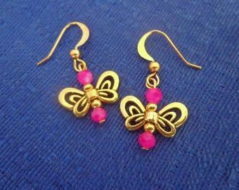 Gold Butterfly Earrings,Dangle Butterfly Earrings,Butterfly Jewelry,Pink Butterfly Earrings