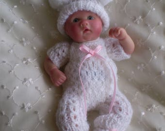 Hand knitted cabled 7 Inch white dolls clothes