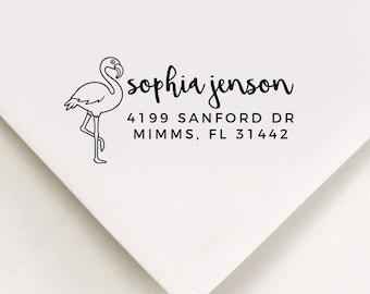 Flamingo Return Address Stamp, Custom Stamp, Self Inking Stamp, Wedding Address Stamp, Custom Address Stamp, Housewarming Gift, Realtor Gift
