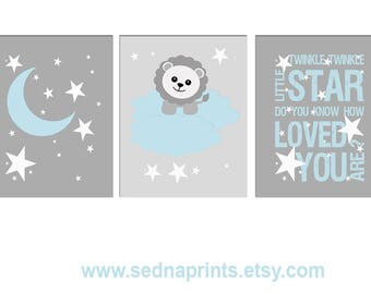Light blue and grey stars Nursery Art Print Set, Baby boy Room Decor, lion, night, moon, stars, twinkle twinkle little star - UNFRAMED