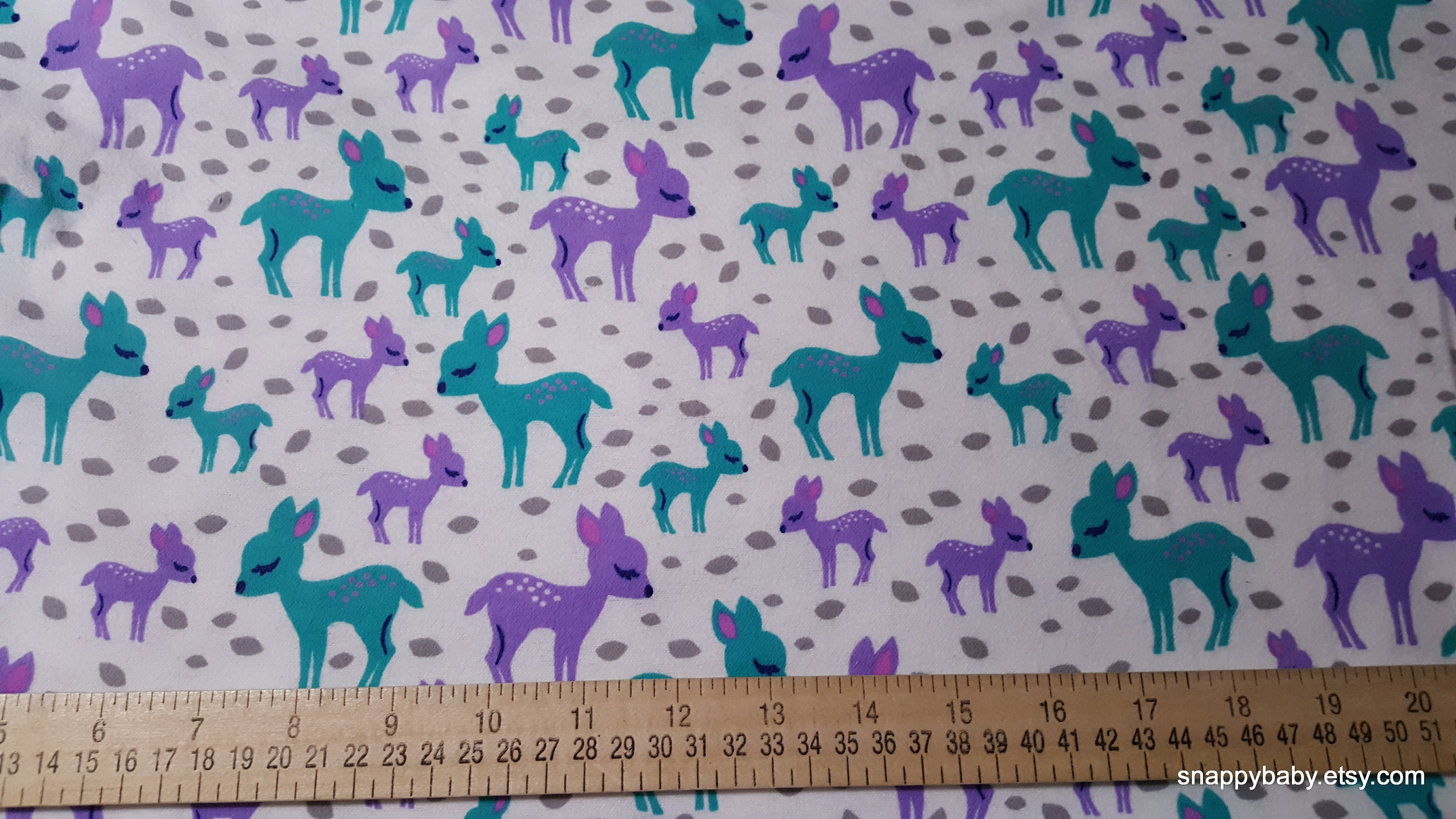 Flannel fabric baby deer by the yard 100 cotton for Children s flannel fabric by the yard