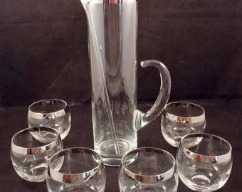 Vintage Dorothy Thorpe Mad Men Style Roly Poly Glasses and Pitcher 8 Piece Set