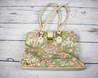 Vintage Large Floral Tapestry Hinged Top Carpet Bag/Purse- Mary Poppins Bag- Carry-on Bag
