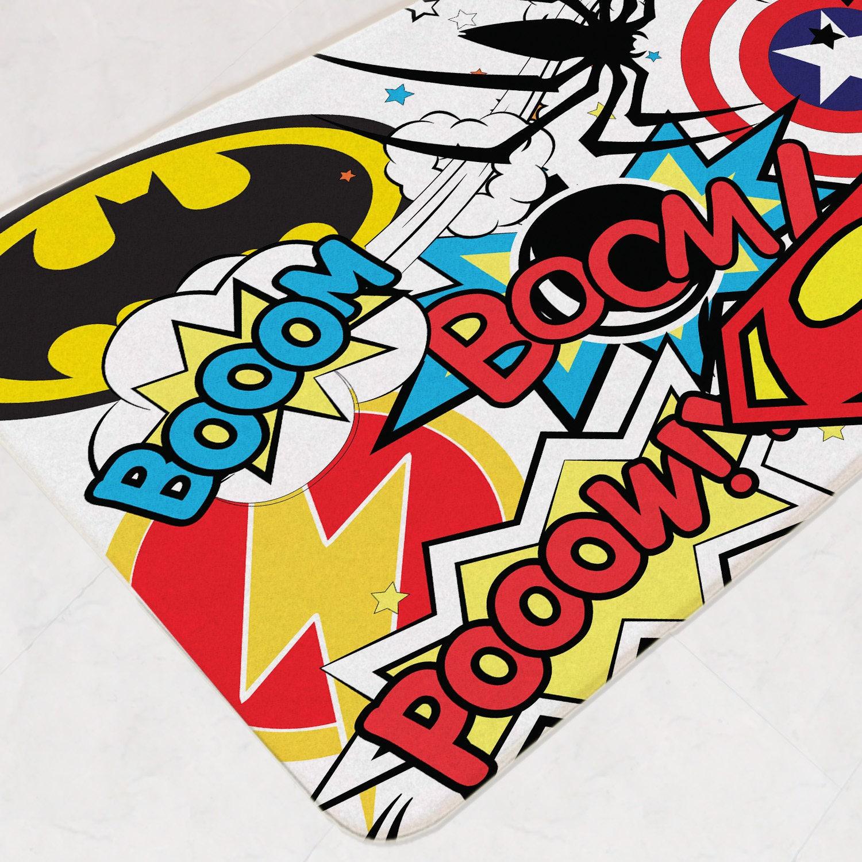 Superhero bathroom bath mat bathroom rug marvel room decor - Marvel superhero bathroom accessories ...