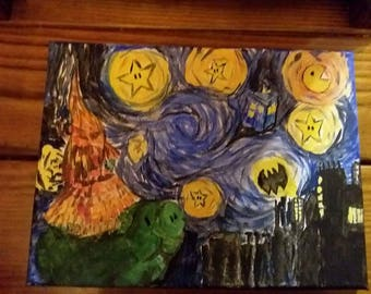 """Painting """"Geeky Night"""" Acrylic on Canvas Wall Pop culture art"""
