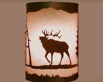 Rustic Light Elk Wall Sconce Lamp Cabin Decor Pine Tree Left Facing