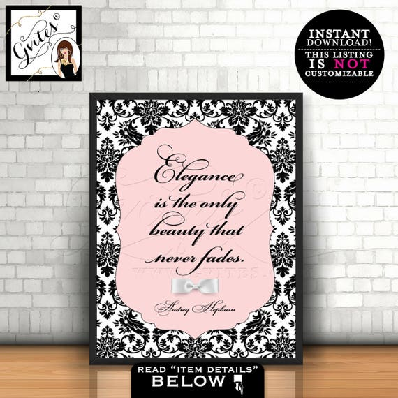 Audrey Hepburn Quote wall art, poster, blush pink Audrey quote, elegance is the only beauty that never fades, Instant Download, PRINTABLE