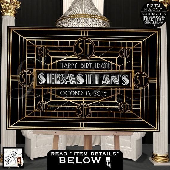 Dessert table backdrop, great gatsby backdrop sign, poster, black and gold silver party table back drop sign, Digital File Only!